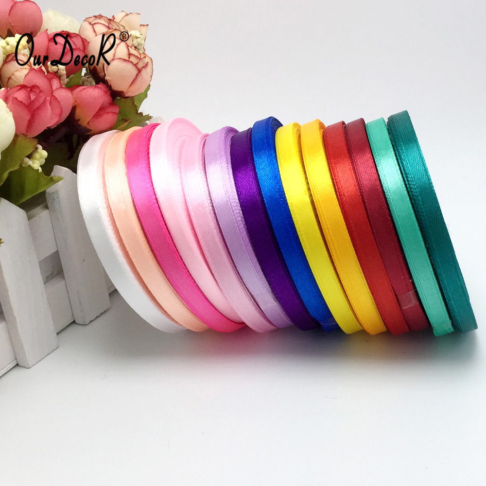 13 Colors Solid Color 1 roll 25 yard 1 4 6mm single face satin ribbon 25yards