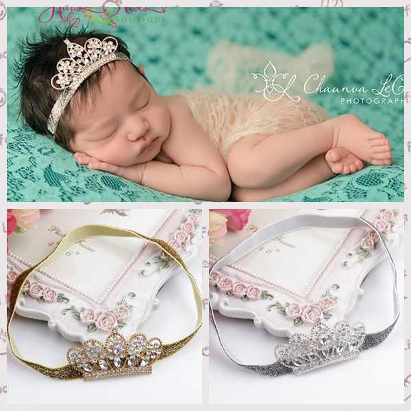 Nishine Alloy Rhinestone Crown Newborn Headband Tiaras Boutique Crystal Girls Kids Children Hair Accessories Photo Shoot