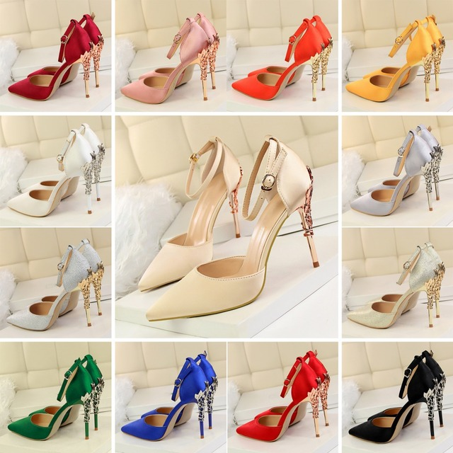 15097a4fa2c8 2019 Luxury Leaves Metal Heel Wedding Shoes Bride Ankle Strap High Heels  Shoes Elengant Silk Women Pumps Pointed Toe Party Shoes