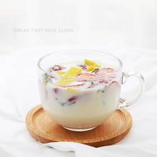 Large 450ml Clear Glass Beer Mug Cup Breakfast Milk Tea Espresso Coffee Cup With Handle Salad Container Eat Water Drinkware Tool