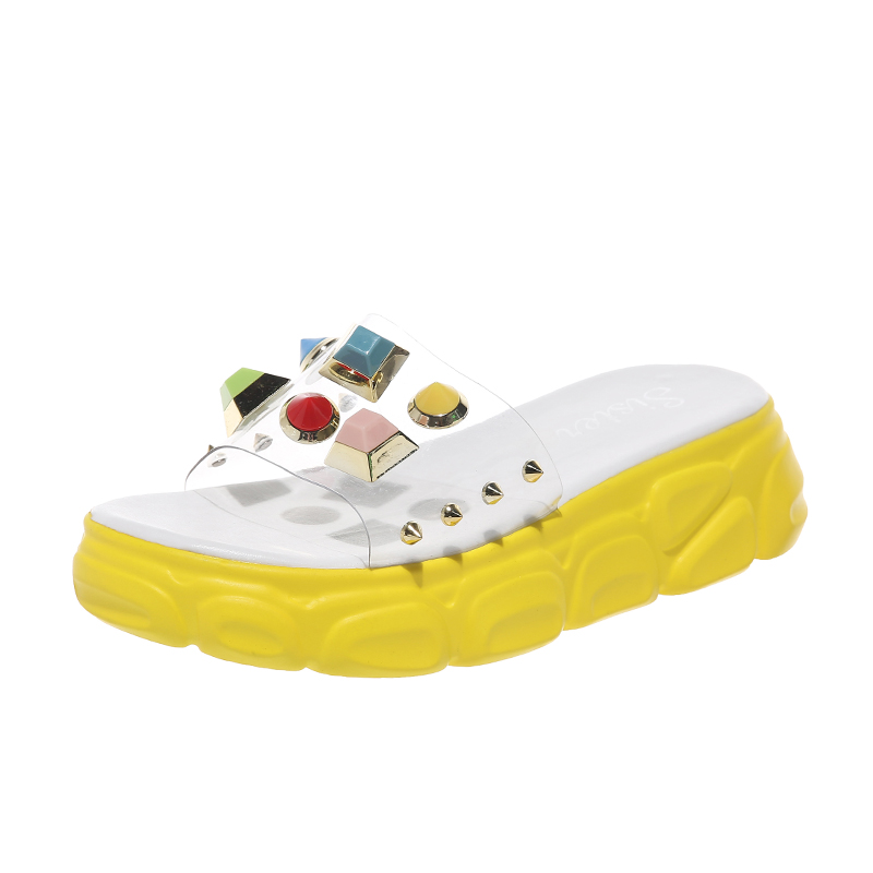 New Summer Transparent Rivet Women Slippers Wedge Female Sandals High Heels Rhinestone