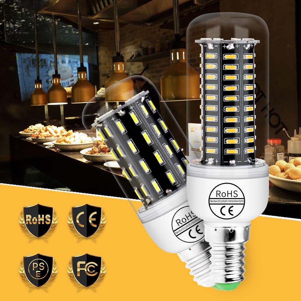 Led Lamp Corn Light 4014 E27 Lighting Fixtures Bulbs E14 Led 220V Home Led Light Bulb AC85-265V 38 55 78 88 140leds Chandelier