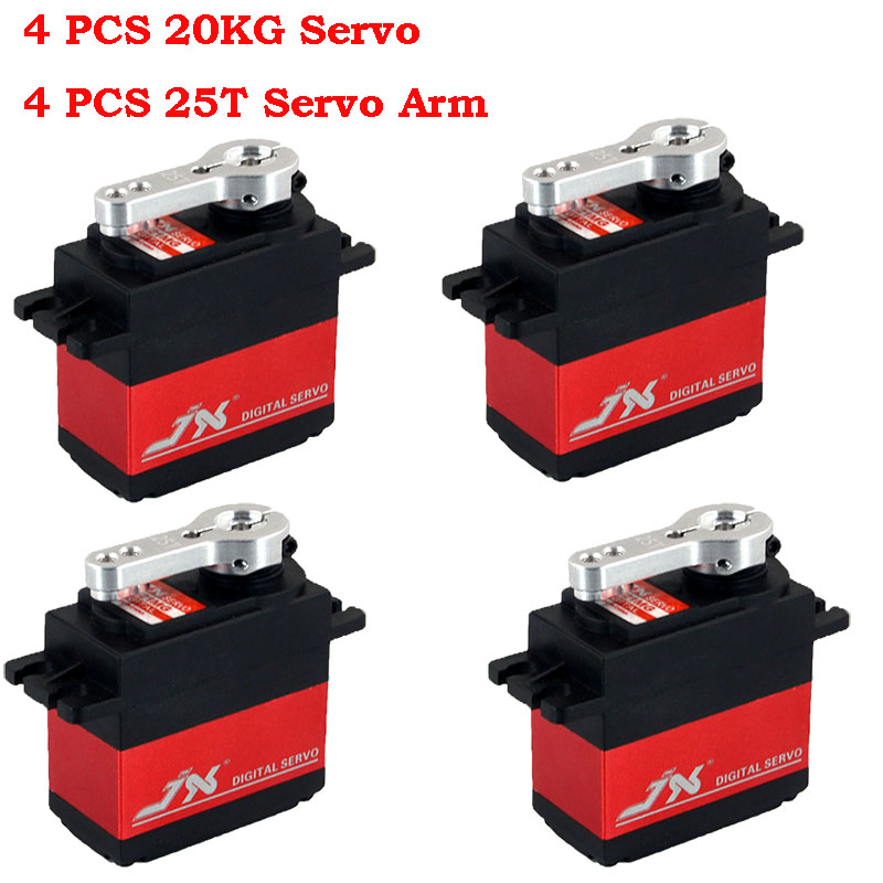 4PCS JX PDI-6221MG Metal Gear 20kg Rc Servo Arm Large Torque Digital Coreless Servo for RC Car Crawler RC Boat Helicopter Model 1pcs metal digital servo henge md922 md 922 450 speed for rc helicopter plane boat car wholesale