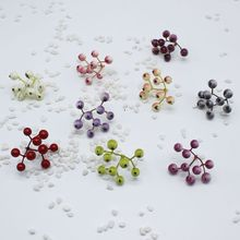 10pcs/ (9 head) Fake fruit small berry artificial flower multicolor cherry stamens pearl wedding christmas decoration