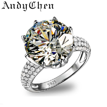 AndyChen Silver Rings for Women CZ Diamond Jewelry Wedding Engagement Fashion Ring party Bijoux Femme Bague