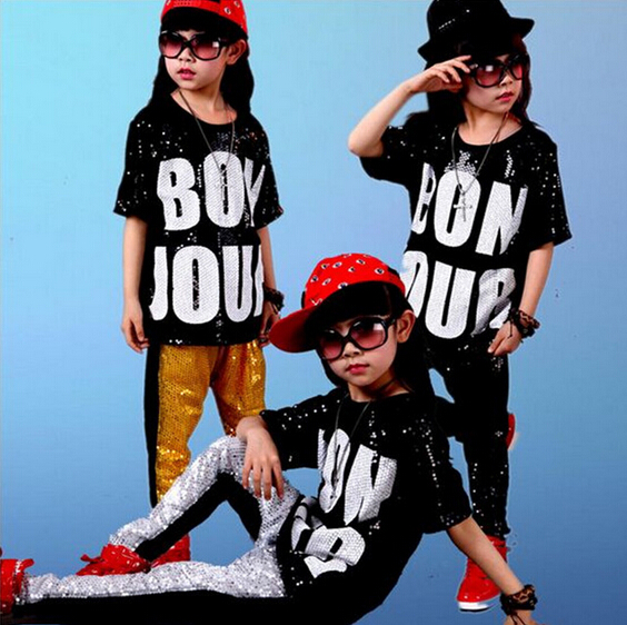 New popular 2018 Summer Children Clothing Boys Clothes Streetwear Hip Hop Sequin Short Sleeve Sets Children's Sets