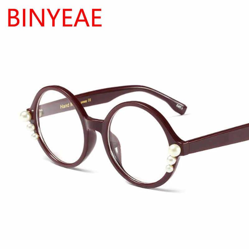 b2409b2a2d6 ... Pearl Fashion Round Glasses Frame Myopia Clear Lens Big Women Optical  Frames Brand Designer Summer Glasses ...