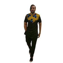 Festival Africa Print Men Tops+Pants Set Customized African Outfits For Man Dashiki Short Sleeve Shirts With Black Trousers