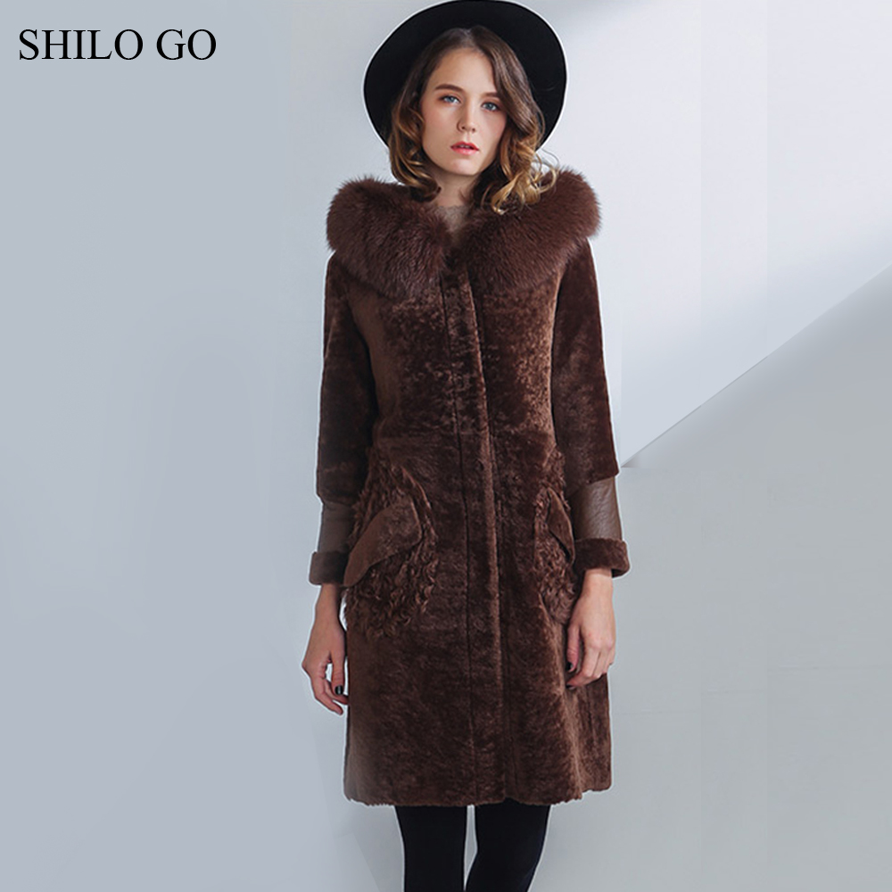 SHILO GO Fur Coat Womens Winter Fashion Merino sheep fur long coat hooded real fox fur collar button warm loose brown coat