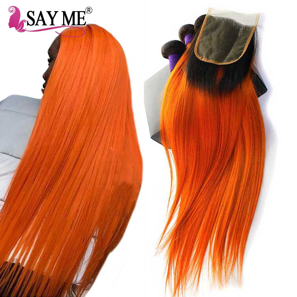 1B Orange Peruvian Straight Human Hair Bundles With Closure Remy Hair Weave Ombre 3 Bundles With