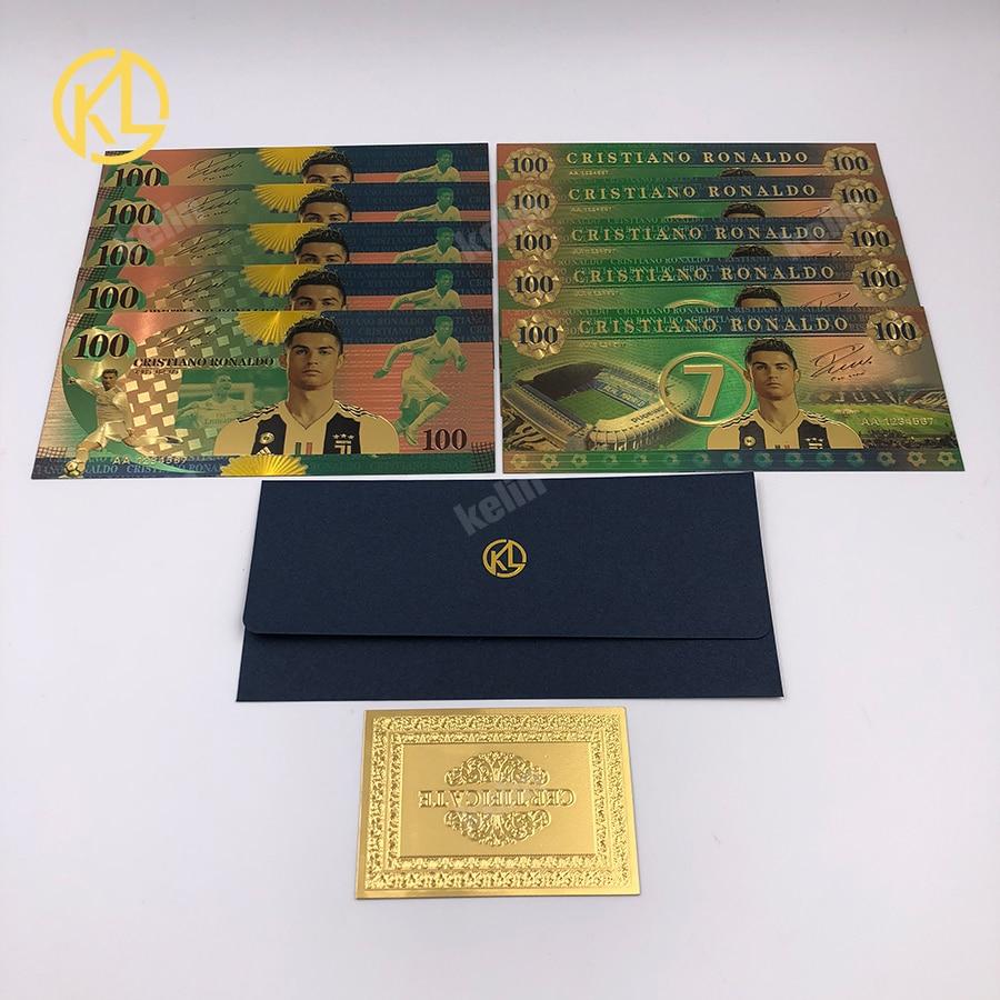 Cristiano Ronaldo 10 Pcs 2018 Coppa Del Mondo Di Calcio Oro Banconota Banconote Per La Raccolta E Gli Appassionati Di Souvenir Regali Prezzo Di Strada