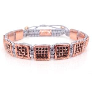 Image 5 - Pulseras cuadradas de moda europea y americana para mujer, pulsera de caja Micro Pave CZ hombres pulsera trenzada reloj joyería salvaje