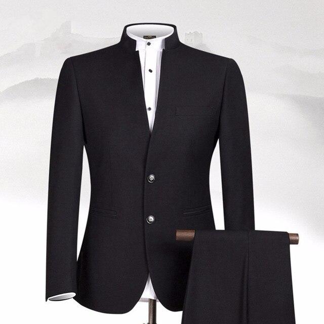 Купить новый дизайн черные мужские костюмы классический костюм с воротником картинки