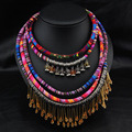 Big chunky declaração de colares 2016 collares etnicos cabo para colar tribal gypsy bohemian colares collier colar indiens