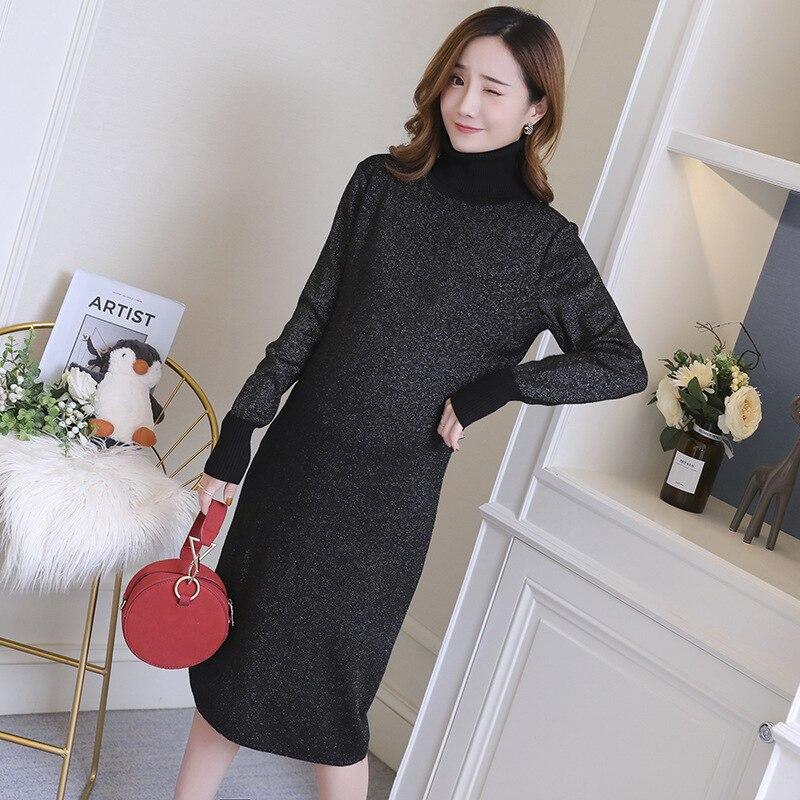 9754e1fa46482 Autumn Winter Thicken Knitted Pregnancy Clothes Dress Fashion Korean High Neck  Elegant Maternity Dresses for Pregnant. sku: 32956541454