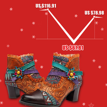 Socofy Genuine Leather Splicing Retro Ankle Boots For Women Shoes Woman Patchwork Lace Knight Boots Zipper Block Heels Botas New