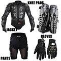 Carreras de motos de motocross riding chaqueta body armor protector engranajes + short pants + motocicleta knee protector + guantes de moto