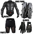 Motorcycle Racing Motorcross Riding Body Armor Protective Jacket+ Gears Short Pants+Motorcycle Knee Protector+Moto gloves