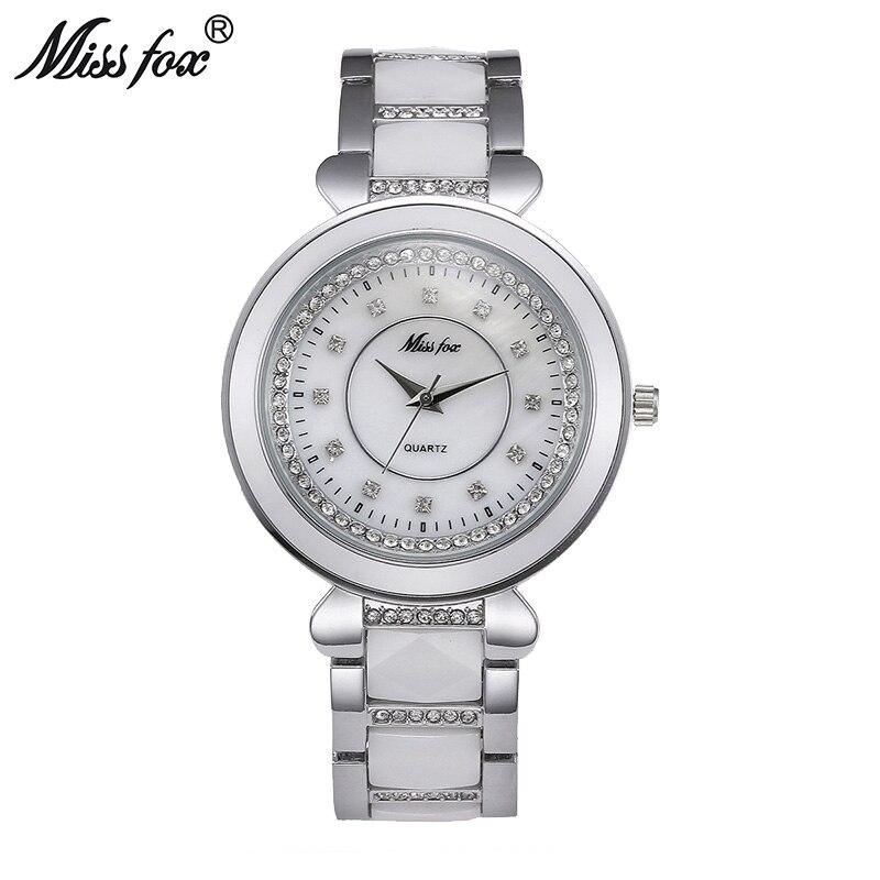 Miss Fox белые керамические часы для женщин платье ромбовидные наручные часы с кварцевым механизмом водонепроницаемые Montre Femme