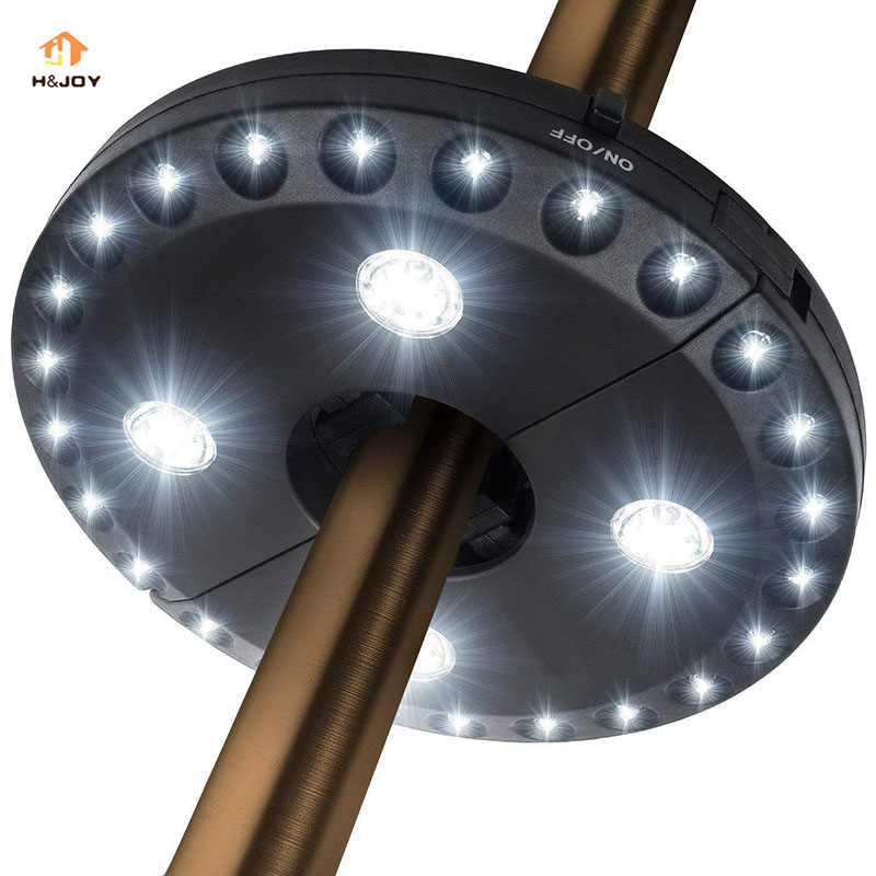 Umbrella Pole Light For Parasol Garden 28 LED Lights Battery Operated Outdoor Camping Us ...