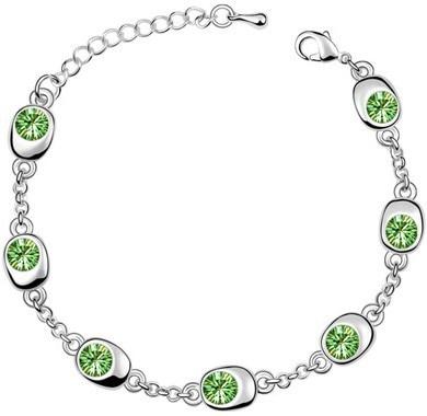 Подарок на день рождения, высокое качество, 7 бусин, Звездные глаза, браслеты с кристаллами, модные ювелирные изделия, 12 цветов, милые Подвески для женщин - Окраска металла: silver green