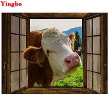 5D DIY diamond Painting Diamond embroidery Window cow Cross Stitch 3d picture Home Decoration 5D Needlework diamond Mosaic sale(China)
