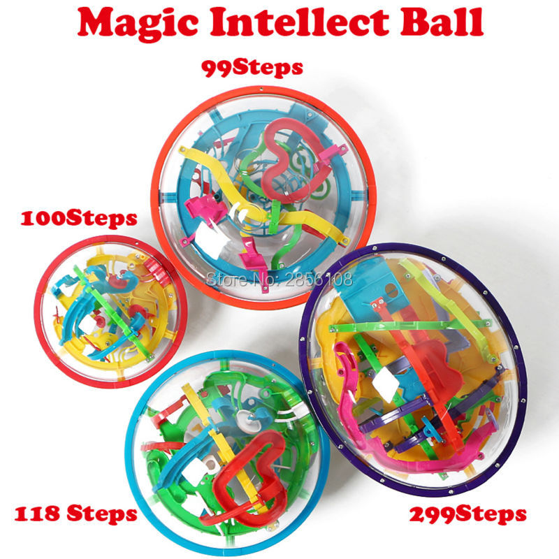 3d magic perplexo labirinto bola 100-299 níveis intelecto bola bola rolando cubos de quebra-cabeça jogo aprendizagem brinquedos educativos, 4 estilos