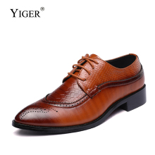YIGER Men oxford shoes male dress large size leather man formal lace-up black business men  0339