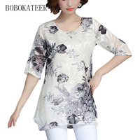 BOBOKATEER Plus Size Embroidery Chiffon Blouse Summer Casual Loose Women Tops Short Sleeve Feminina Blusas Feminina