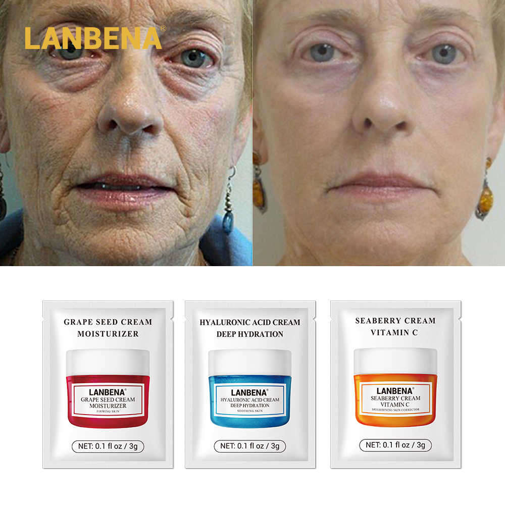นาฬิกา LANBENA Hyaluronic Acid Facial Cream Anti Wrinkle Whitening Moisturizing Anti Aging Vitamin C Serum สิวยก 3g
