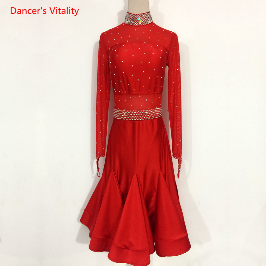 Custom Adult/Kids Latin Dance Clothing Women/Girls Latin Dance Competition Dress Ballroom Dance Performance Dancewears
