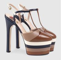 Новый Дизайн Заклёпки шипованных multi Цвет босоножки женские сандалии на платформе острый носок Т ремень Высокие каблуки Насосы
