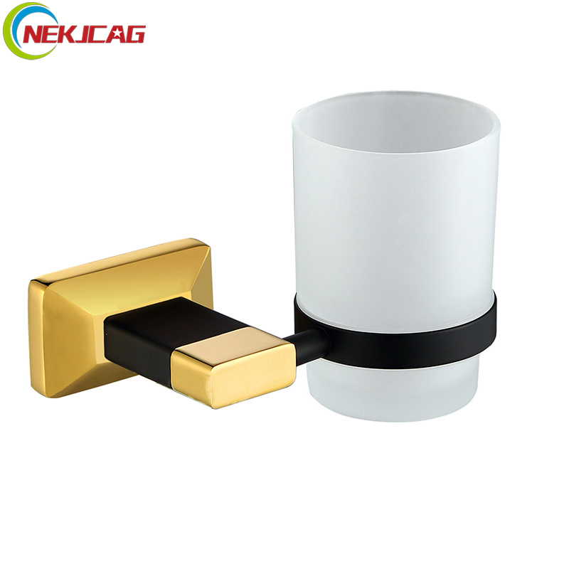 Cup & Tumbler Holders Brass Glass Cup Hoder Set Black Gold Cup Tumbler Holders Toothbrush Cup Holders Bathroom Accessories cup & tumbler holders glass cup brass antique toothbrush cup holder set luxury bathroom accessories wall tumbler holders 10703f