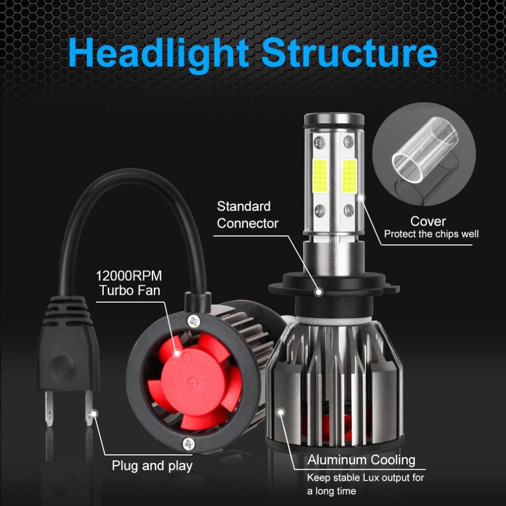 4 Sides H4 H7 LED H8 H11 9005 HB3 9006 HB4 LED Headlight Kit 10000LM 6000K White 12V 24V Car Lights Bulbs for Auto
