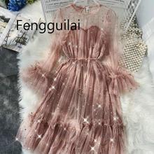 Summer autumn  new female O-neck flare sleeve stars sequined mesh shiny fairy dress women elegant bling pleated dresses