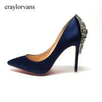 Royal Blue Satin Otwórz Toe Rhinestone Powrotem Buty Ślubne Pompy Szpilki sapato noiva para Butów Slip-on Sandał Dla kobiety Prawdziwe