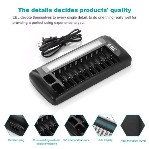 EBL 12 Bay LCD Charger 9v AA AAA Rechargeable Battery Charger New Released free shipping