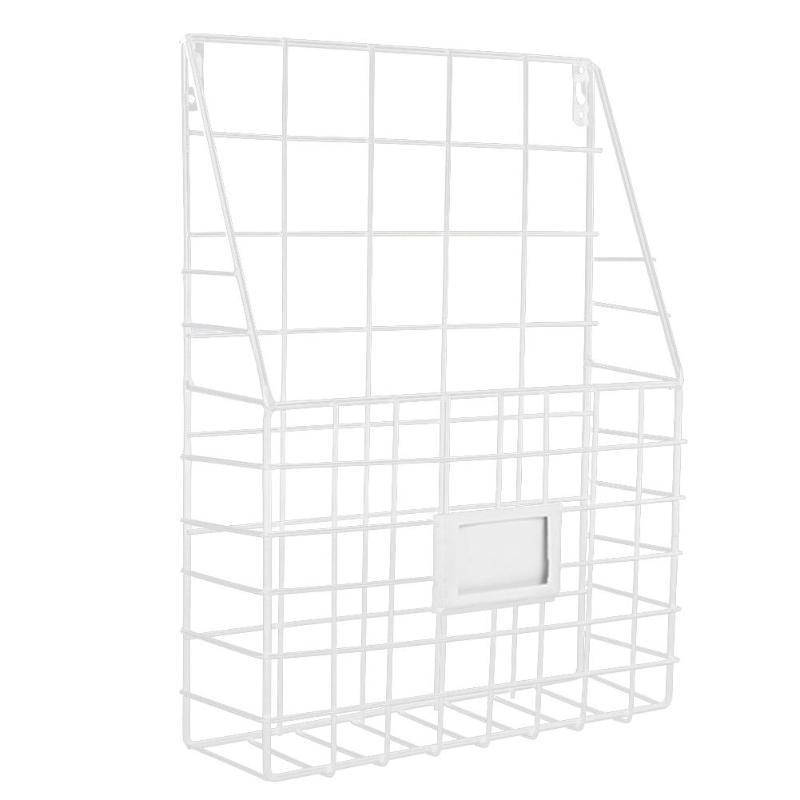 Простой железный настенный стеллаж для хранения, металлическая настенная полка для хранения, настольный держатель, органайзер для журналов для дома, спальни - Цвет: Белый