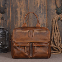 2016 New Vintage Large Capacity Genuine Soft Leather Men's Bags Cowhide Handbag Designer Laptop Portfolio Men Messenger Tote