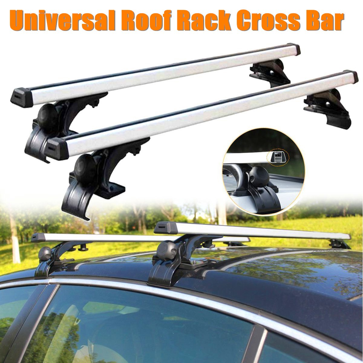 Universal Car Top Roof Rack Cross Tube Bar Cargo Luggage Carrier Rack Silver Fit For 4 Door Models Vehicles 48