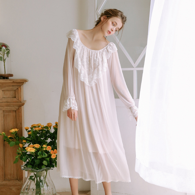 2019 Palace Princess Women   Nightgowns     Sleepshirts   Long Nightdress Cotton 95% Modal Ladies Sleepwear Long Gowns De Verao