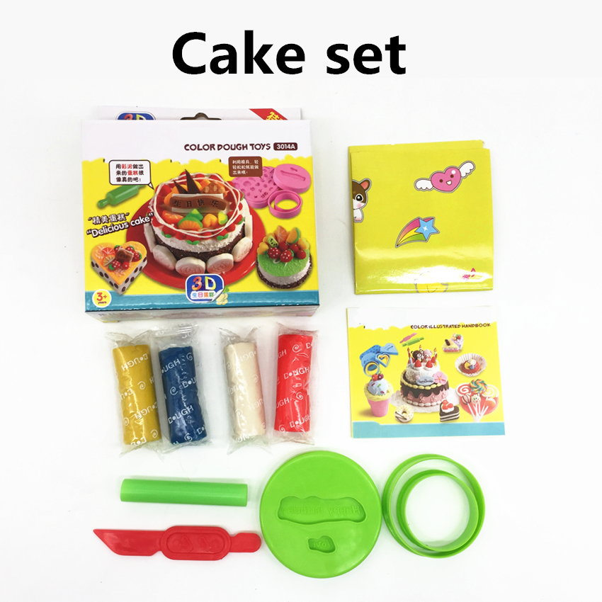 DIY Fimo Playdough Simulation Ice Cream Cake Candy Model Slime Kit Mold Set Kids Pretend Clay Nontoxic Toys Tools Accessories