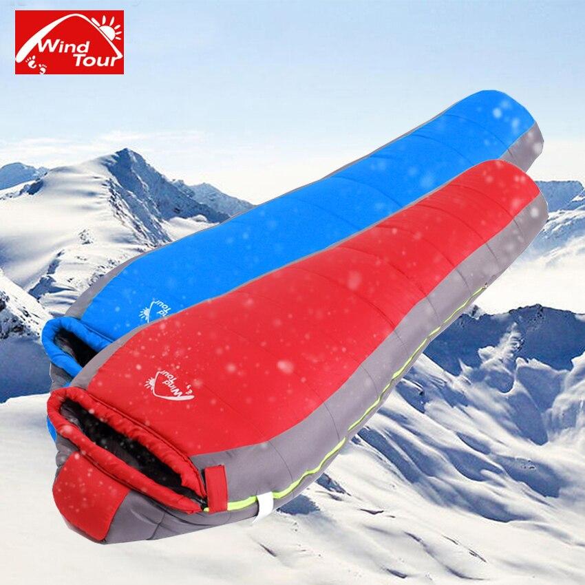 WindTour nouveau 205X85 CM adulte sac de couchage avec 3D coton thermique ultra-léger extérieur hiver randonnée Camping tourisme équipement VK079