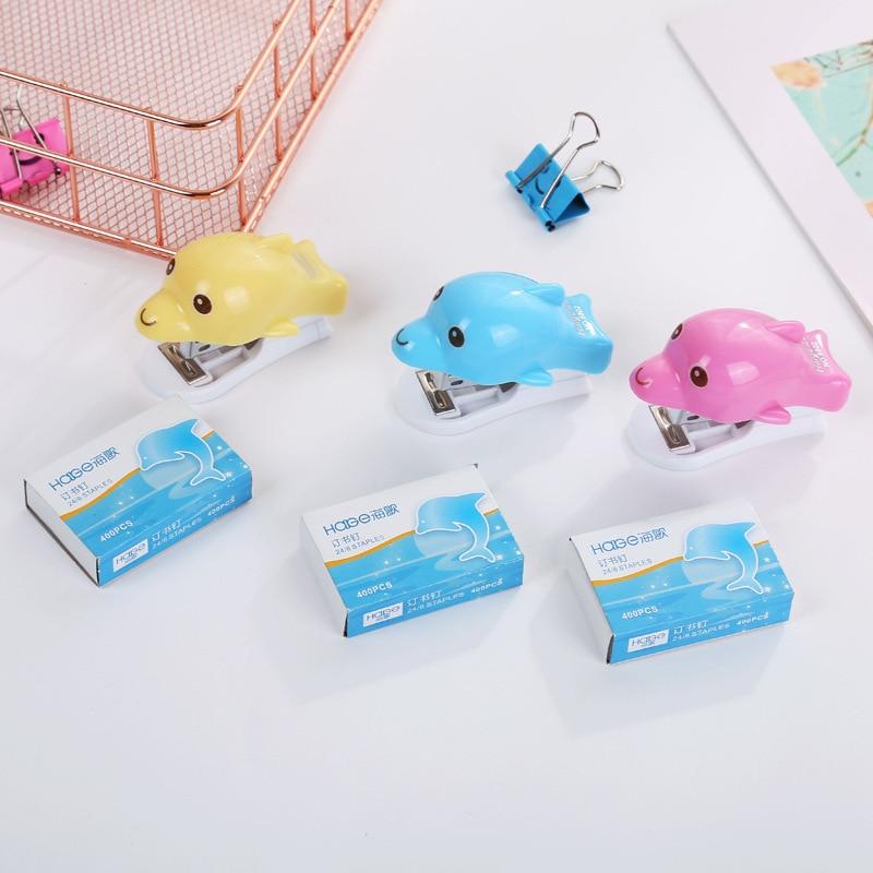 Mini Creative Office Stationery Stapler Cute Dolphin 12# Stapler Set Student Stapler Stapler With Welf-supplied Function