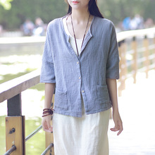 Johnature Women Shirts Chinese Style 2018 Summer New Casual Blouses Button Pockets Loose Cotton Linen Tops Brief 8 Colour Shirts
