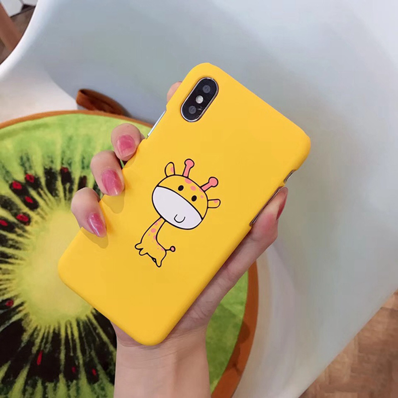 iPWSOO Cute Phone Case For iPhone 6 6S 7 8 Plus X Case Cartoon Giraffe Animal Fruit Pattern Hard PC Phone Case For iPhone 7 Case