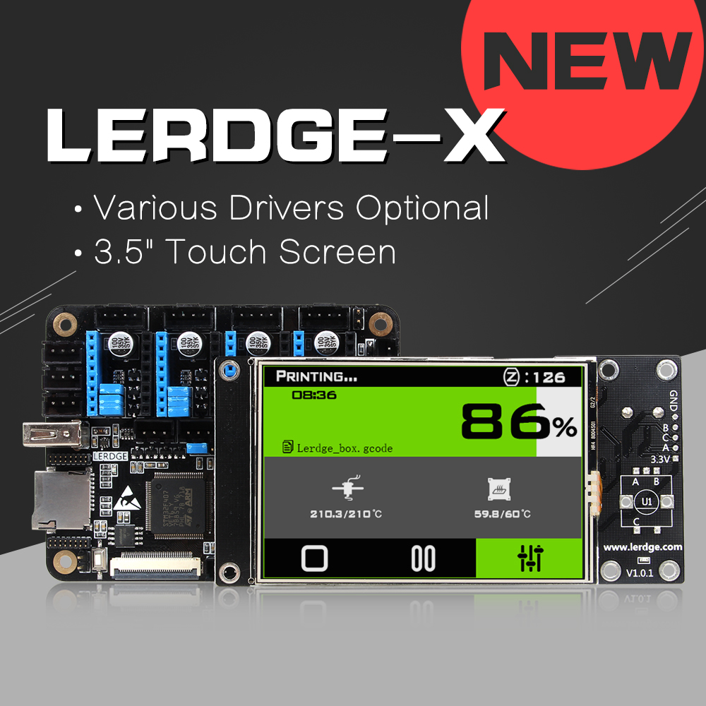 "Lerdge-X 3D Printer Controller Board For Reprap 3D Printer Motherboard With Arm 32Bit Mainboard Management With 3.5""contact Display"