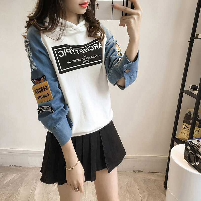 Harajuku Denim Hoodies Women Sweatshirt Long Sleeve Patchwork Woman's Hoody 2020 Spring Autumn Casual Letter Print Pullovers