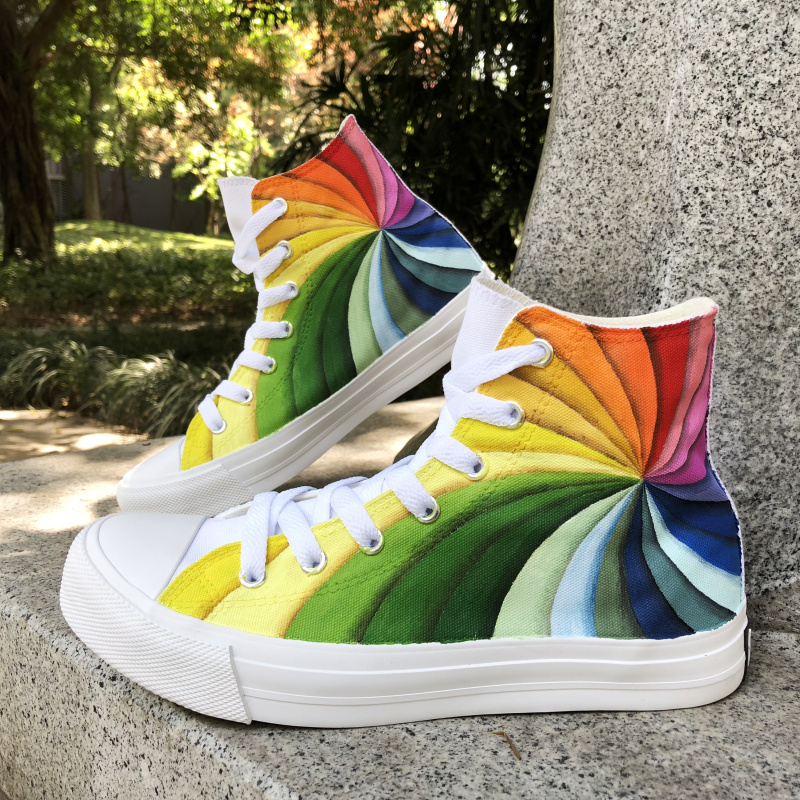 Wen Woman Sport Sneakers Sewing Canvas Hand Painted Shoes Design Rainbow Color Vortex Color Painting Men Big Size Plimsolls