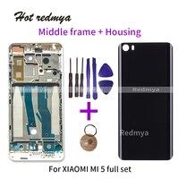 Middle Frame For Xiaomi Mi5 m5 mi 5 Front Bezel Middle Frame+3D Glass Battery Back Cover With Side Keys black/Silver/Gold